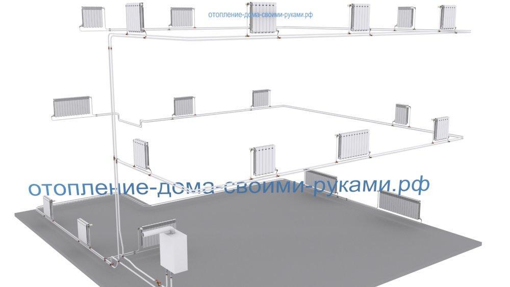 3D схема отопления двухтрубной